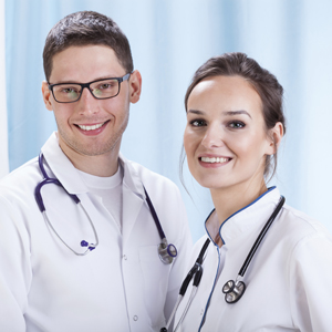 Young male and femal doctors