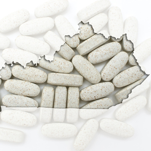 Outline map of Kentucky with transparent pills in the background