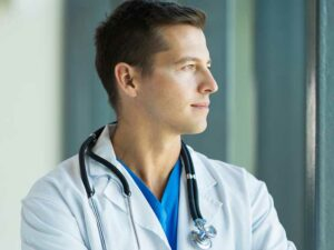 physician practicing mindfulness