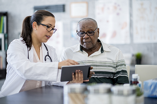 Patient creating a positive patient experience for an older man