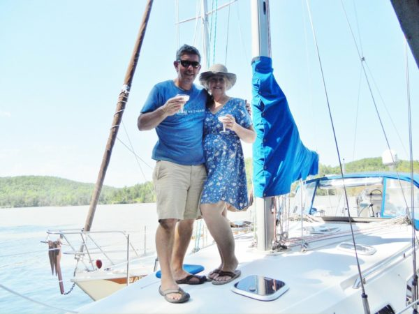 locum tenens sailing - image of robin and michael mangione aboard their sailboat