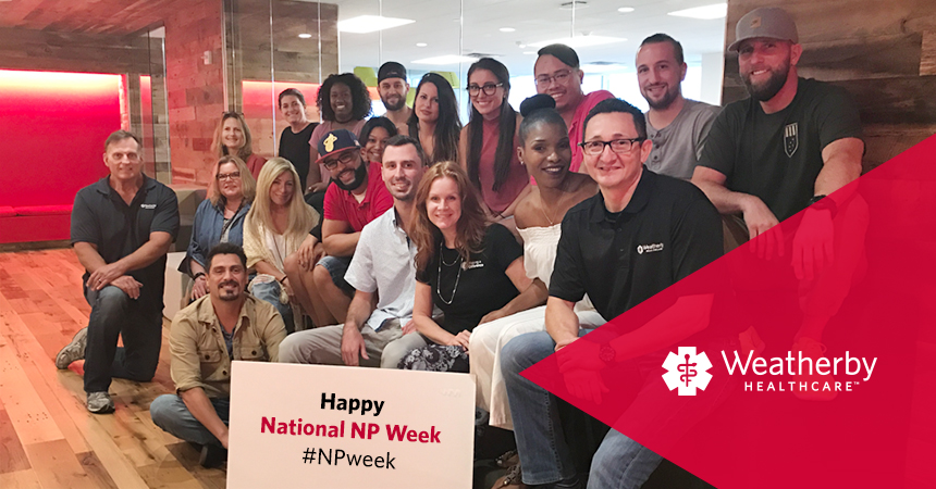 Weatherby Healthcare - National NP Week 2017 - Featured Image of Fort Lauderdale Office Team celebrating our nurse practitioners