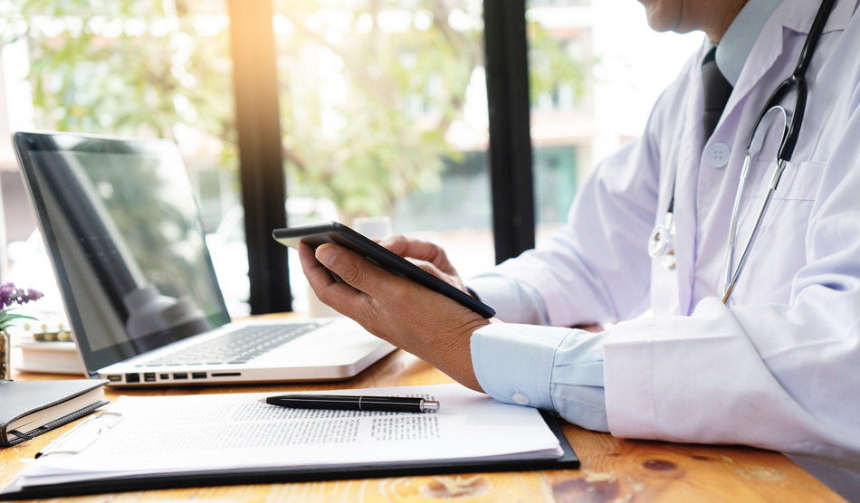 Doctor doing telemedicine for the first time, reading tips
