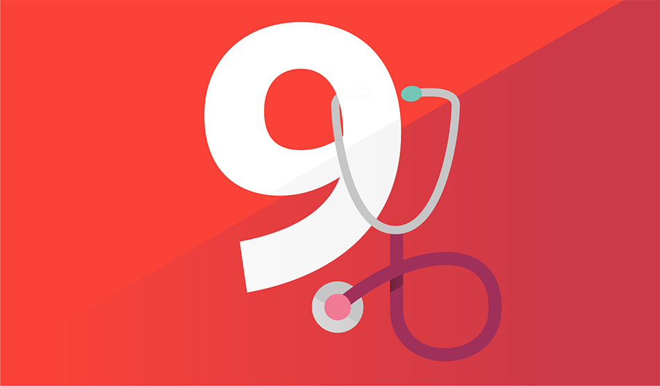 Illustration of number 9 with a stethoscope