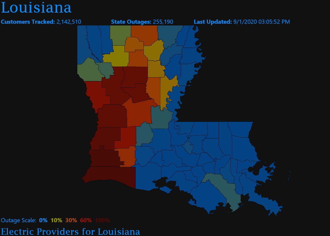 Louisiana Power Outage Map
