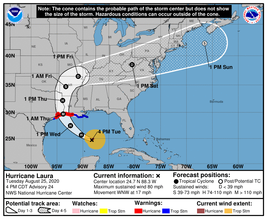 Hurricane Laura trajectory as of Aug 25 2020