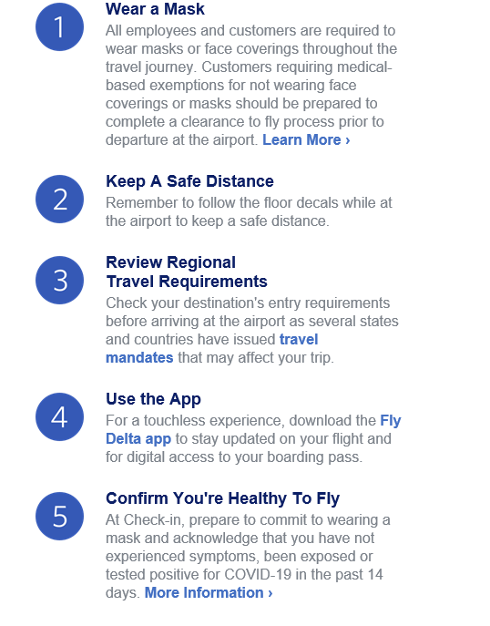 example airline COVID safety screenshot