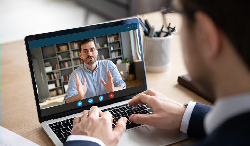 Physician being screening in a video interview